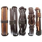 Herren Armband Set Leder Armbänder Armreifen Geflochten Armketten Größe Verstellbar 5 Stücke Braun