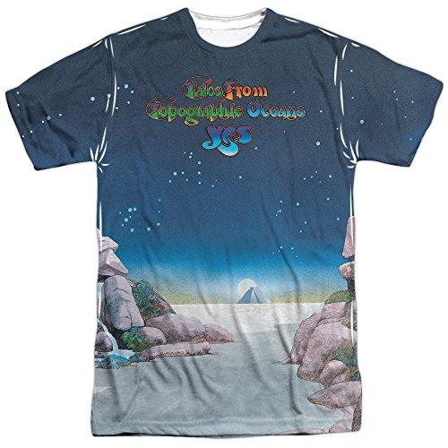 YES Topographic Oceans - zweiseitiger Sportstoff - Erwachsene T-Shirt - Weiß - 3X-Groß -