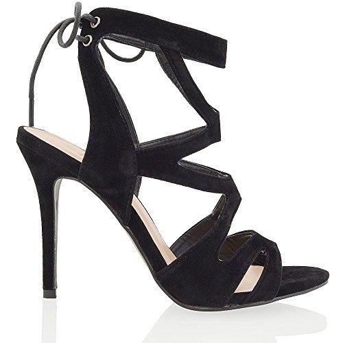 bba1bd5ffdd035 Essex Glam Damen Hoher Absatz Stiletto Peep Toe Ausgeschnitten Schnürer  Sandalen Schuhe Schwarz Wildlederimitat
