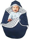 Wallaboo Einschlagdecke Coco, Sehr praktische und Kuschelweiche Babydecke, 100% Baumwolle, 90 x 70 cm, Farbe: Blau / Weiß
