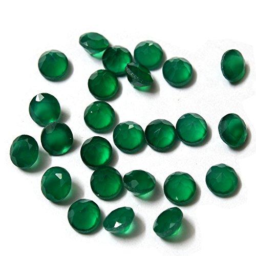 Be You Naturelle Indien Onyx Vert AA Qualité 5 mm Taille Facettes Rond Forme Pierres précieuses en Vrac 10 Pièces