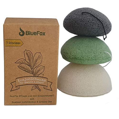BlueFox Konjac Schwamm 3er Set mit Bambuskohle, Grüner Tee, Körper-, Gesichtsschwamm, Gesichtsreiniger gegen unreine und fettige Haut, Mischhaut, aus biologischem Anbau, nachhaltig