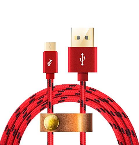 Micro USB Kabel[Micro USB Schnellladekabel],Nylon Datekabel 2m USB Ladekabel,Dimi High Speed Sync und Ladekabel USB Kabel für Android,Samsung,Huawei,HTC,Sony,Nexus, Xiaomi und mehr, Rot (Lang Kindle Stromkabel)