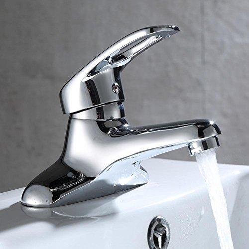 Waschbecken Wasserhahn Voller Kupfer Design Einhand Doppel Loch Mischbatterie Becken Wasserhahn Silber , silver -