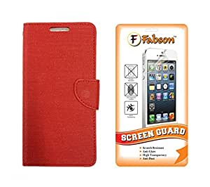 Fabson Screen Guard & Flip Cover for Micromax Bolt Q339 - Red