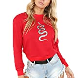 Angelof Sweats Femmes Pull Filles Serpentin Sweat à Capuche à Top Dame Manches Longues Rouge Hoodie Shirt (S)