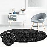 Shaggy-Teppich, Flauschiger Hochflor Wohn-Teppich, Einfarbig/Uni in Schwarz für Wohnzimmer, Schlafzimmmer, Kinderzimmer, Esszimmer, Größe: 80 x 80 cm Rund