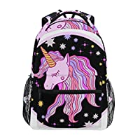 Ahomy Backpack Cute Pink Purple Unicorn Stars Rucksack School Bag for Girls Boys Women Ideal Travel Day Shoulder Pack