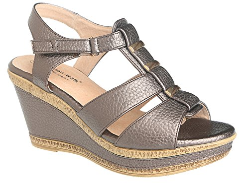 Ladies A04 Cushion Walk Wide E Fit Leather Lined Wedge Peep Toe...