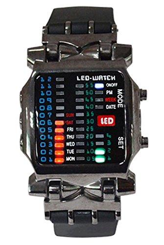 Armbanduhr - SODIAL(R) Unisex Binaer LED Uhr Digital Datumsanzeige Bunt Sport Trend Armbanduhr Gewehrfarbe