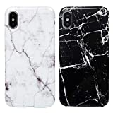2x Coque pour iPhone X/iPhone XS, Etui Marbre Silicone IMD Anti-rayures TPU Mince Léger Souple Housse Protecteur - Marbre Noir Blanc, Gris