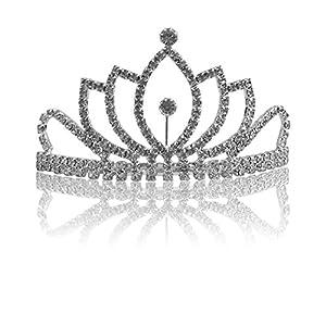 Katara- Tiara con Diamantes de Imitación de Plata para Novia o Dama de Honor, Color, corona con peine modelo #2 (1738)