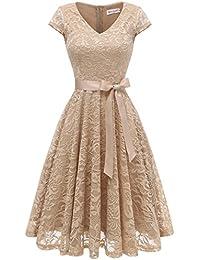 Berylove Damen V-Ausschnitt Kurz Brautjungfer Kleid Cocktail Party Floral Kleid BLP7006ChampagneL
