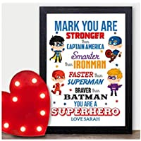 PERSONALISED SUPERHERO Christmas Gifts Husband Boyfriend Mr Partner Xmas Present - PERSONALISED with ANY NAME and ANY RECIPIENT - Black or White Framed A5, A4, A3 Prints or 18mm Wooden Blocks