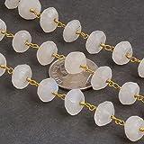 10metri bianco pietra di luna arcobaleno 6mm placcato oro 24K rondelle rosario Style in rilievo catena