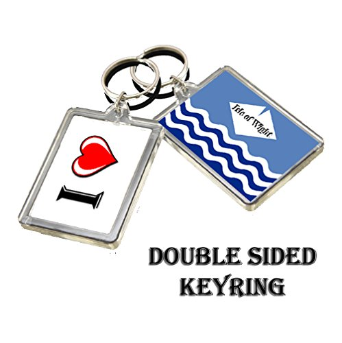 A063 ISLE OF WIGHT FLAG KEYRING I HEART CITY OF ISLE OF WIGHT KEYCHAIN
