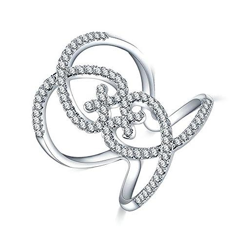 Epinki Damen Ewigkeit Ringe Heiratsantrag Ring Trauringe Cubic Zirkonia Blumen Kristall Silber Gr.52 (Kostüm Farbige Kontakte Günstige)