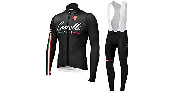 CASTELLI CAFE Sportswear Cycling Clothing Bike Jersey Autumn-Winter long  sleeve + long pants (S)  Amazon.co.uk  Sports   Outdoors f71f85f78