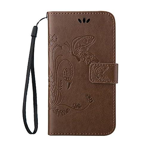 Cozy Hut Huawei Ascend Y550 PU Housse,Slim-Fit Folio Smart Cuir Portefeuille Case Coque Etui pour Huawei Ascend Y550,Fleur de papillon Motif PU Leather Coque Stand Flip Housse de Protection pour Huawei Ascend Y550 - Coffee
