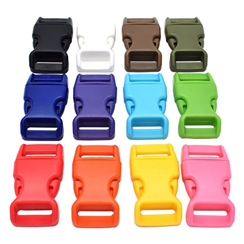 60 multi-color units buckles 15 mm contoured Side release plastic buckles for parachute backpack straps cinch