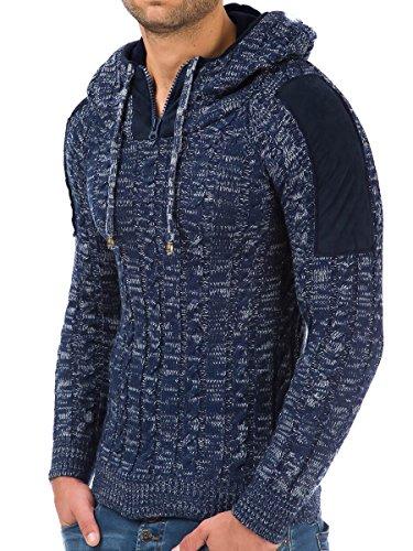 Pullover Herren Strickpullover Hoodie Winter Pulli Kapuze Tazzio Slim Fit Langarm Shirt Dark-Blue