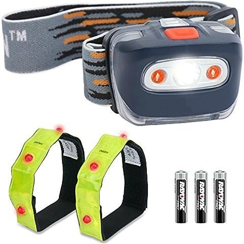 Linterna Frontal LED + 2x Brazaletes de bonificación - Súper brillante, ligera y confortable, fácil de usar – Perfecta para correr, caminar, ir de acampada, leer, hacer senderismo, niños, bricolaje y más, pilas