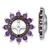 925 Sterling Silver Rhodium plated Amethyst and Black Sapphire Earrings Jacket Jewelry Gifts for Women