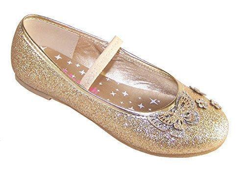 Ragazze oro glitter ballerine basse luccicante scarpe da festa - Dorato, 27 EU