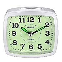 TIMETOP Silent Analog Alarm Clock Non Ticking, Gentle Wake,Battery Operated Snooze and Light Functions Super Silent Sweep Second Hand Light Weight Travel Clock Upgraded Version(Silver)