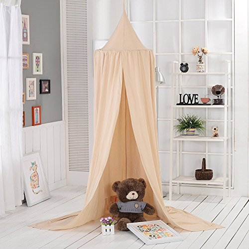 Baby Betthimmel AngelaKerry Baldachin Baumwolle Rund Moskitonetz Insektenschutz Kinder Prinzessin Spielzelte Dekoration fürs Kinderzimmer - Khaki