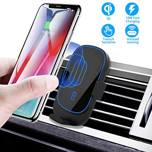 Kdely Caricatore Wireless Auto,Ricarica Wireless da Auto Qi,Caricabatteria per Auto Wireless per Samung Galaxy S10/9/8/Note 9,iPhone11/XS/XS Max/XR/X/8,Huawei Mate 20 Pro/P30 PRO, Xiaomi Mix 2S
