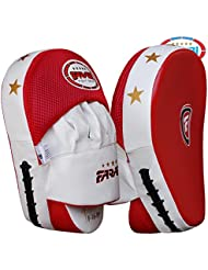 Farabi Curved Focus Pads, Hook & Jab Mitts, Boxing Training Pads (Red)