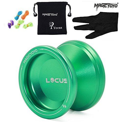 Pro Responsive Yoyo für Anfänger MAGICYOYO V6 LOCUS SPACE Matt Metal Jojo mit Pouch Handschuh 5 Strings (grün)