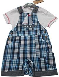 BNWT Baby Boy diseño de cuadros 2piezas todo en uno–Peto camiseta ropa Outfit
