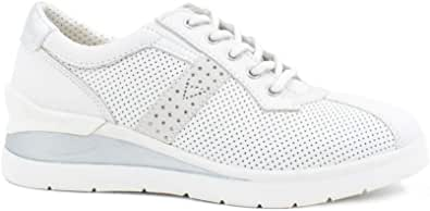 Valleverde 17151 Sneakers Scarpe Donna Zeppa in Pelle Bianco Casual