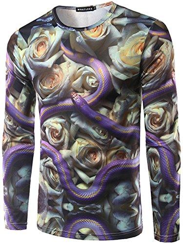 Whatlees Herren T-Shirt mit langen Ärmel Schlange Muster kühl leistungsstarke schlanke bequeme dünne ultra-realistische Frühling und Herbst (D&g Schlange)