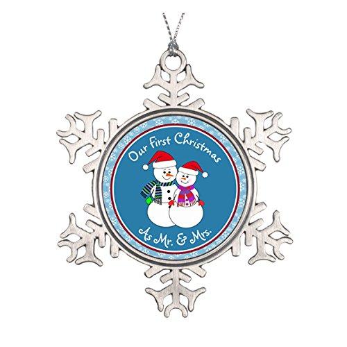 Daily Lady Personalisierte ~ Unsere 1st Christmas, wie Mr. & Mrs. Keramik rund Weihnachten Ornament