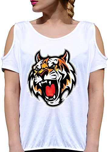 JODE T Shirt Girl GGG27 Z0584 Roaring GRAWLING Tiger Poster Cartoon Fashion COOL Bianca - White S (Cartoon-tiger-poster)
