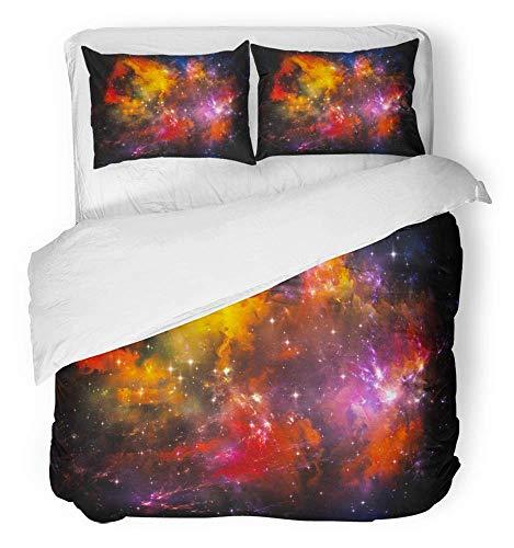 3-teiliges Bettbezug-Set Atmungsaktives gebürstetes Mikrofaser-Stoff-Universum ist nicht genug Serie bestehend aus Fraktal-Lichtern und Metapher auf dem Bettwäschesatz mit 2 Kissenbezügen Full / Queen -