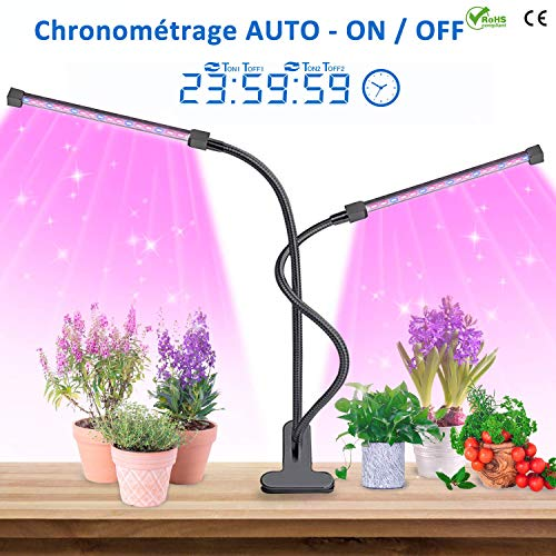Lightswim Plant Growing - Lampada con 7 Pezzi Set di Attrezzi da Giardinaggio, 69 LED, Full Spectrum Grow Light 3/9/12H, Timer con Spettro, Collo di Cigno Regolabile per Giardino Interno