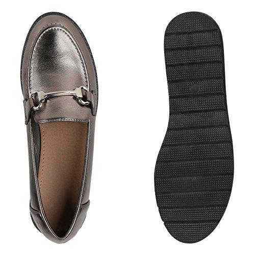 Damen Slipper Lack Plateau Loafers Metallic Schuhe Profilsohle Loafer Flats Glitzer Slippers Quasten Lochung Flandell Grau Metallic Metallic