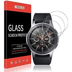 MASCHERI Protection Écran pour Samsung Galaxy Watch 46mm, [3 Pièces] Garantie de Remplacement à Vie pour Le Verre trempé SmartWatch