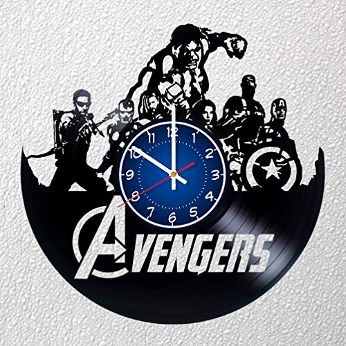 Marvel Avengers Team Art 30,5 cm/30 cm Vinyl Schallplatte Wanduhr | Iron Man Fan Geschenk | Breaking Bad Uhr | Kinder Room Decor Idee Marvel Home Art Party Avengers Film Art Christmas Hulk Vision (Christmas Für Party-ideen Kinder)