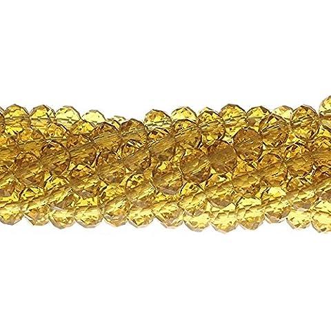 6x 8mm Rondelle Sfaccettato Cristallo Perline di Vetro, Giallo Antico, (Perline Di Cristallo Di Sfaccettatura)