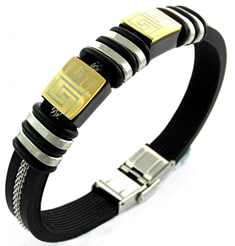 The jewelbox stainless steel gold silver plated black rubber strap mens bracelet