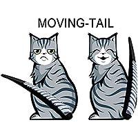 ZENDY Ventanas dados de golpe 3D pegatinas decorativas de vidrio estereoscópicas y de la forma del gato de limpiaparabrisas (2 gatos incluidos) decorativos etiqueta creativa (Gato)