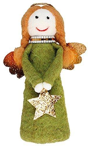 20cm grün und gold Stoff Weihnachten Engel Statue mit Flügeln und Stern und (Halo Flügel)