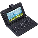 "ZA eShop Synthetic Leather Flip Case Cover With USB Keyboard For All type of 7"" Tablets Black"