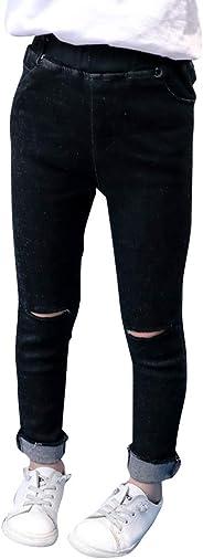 PengGengA Kinder Mädchen Skinny Jeans Hose Zerrissene Loch Einfarbig Röhrenjeans