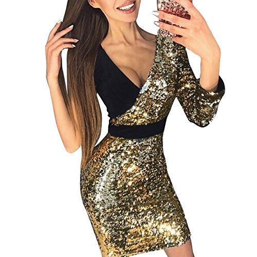 3e0e6251e13 VEMOW 2018 Damen Ballkleid Figurbetontes Kleid Tiefem V-Ausschnitt Karneval  Bling Pailletten Splice Minikleid Cocktailkleid